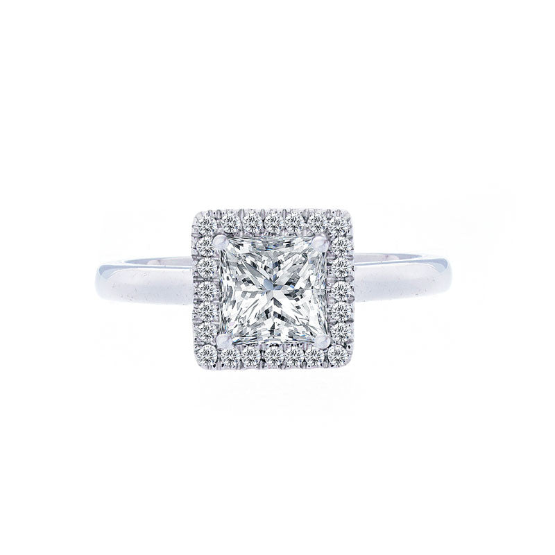 Princess Diamond Halo Engagement Ring with Polished Band for 1.00ctw Center