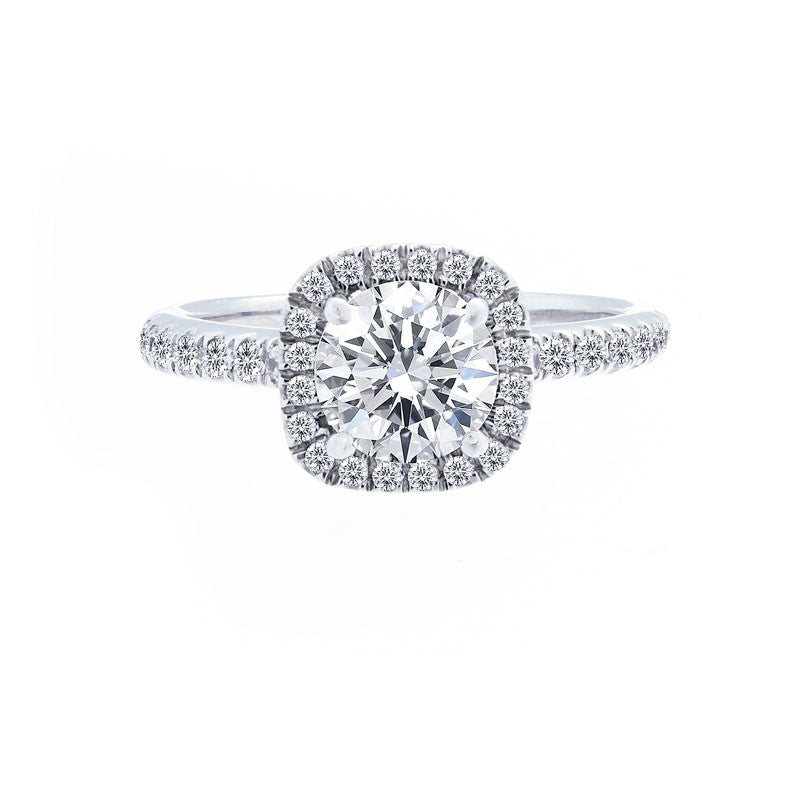 Cushion Diamond Halo Engagement Ring with Diamond Band for 1.00ctw Center