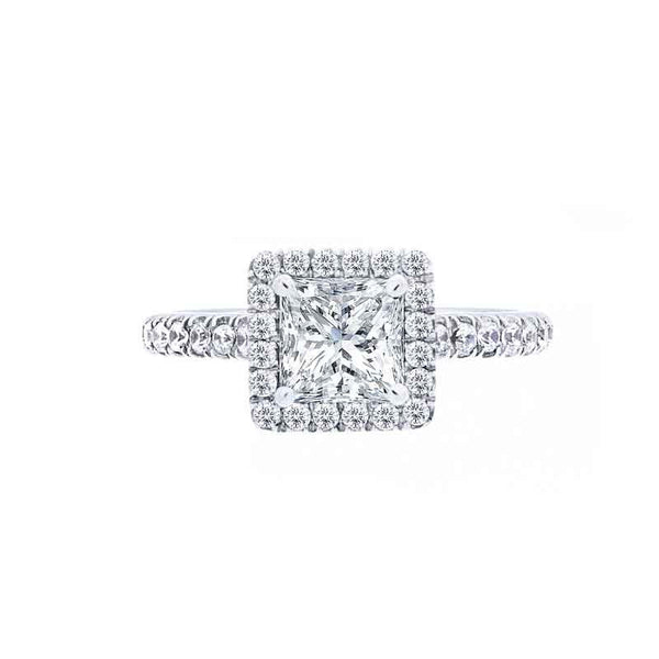 Princess Diamond Halo Engagement Ring with Diamond Band for 1.00ctw Center