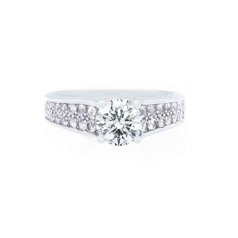 2 Row Pave Diamond Tapered Engagement Ring