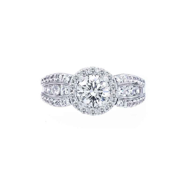 Round Diamond Halo Engagement Ring with a Bow Shaped Band
