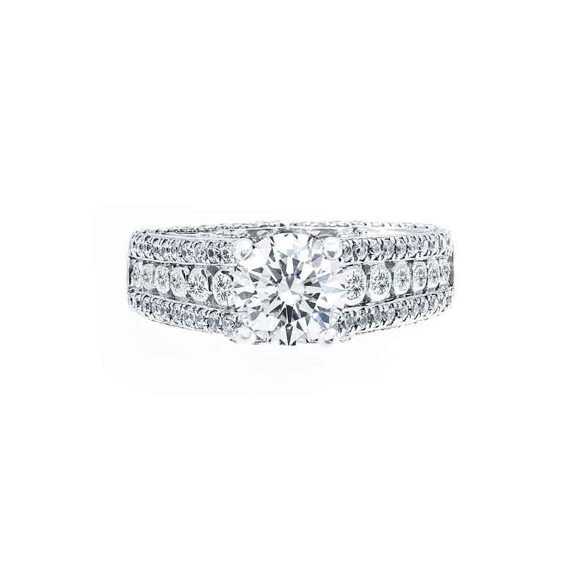 3 Row Tapered Diamond Engagement Ring