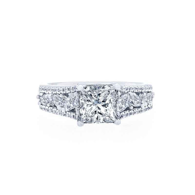 Princess Cut Engagement Ring with Marquise Diamond Band