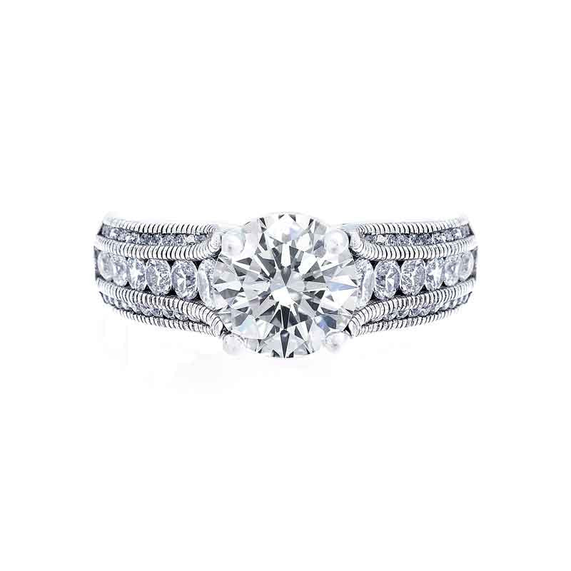 3 Row Milgrain Tapered Diamond Engagement Ring