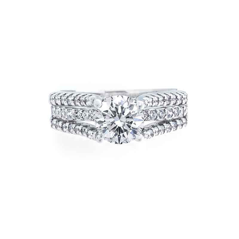 3 Row Diamond Split Band Engagement Ring