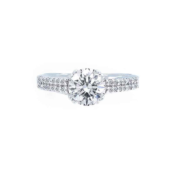 Classic 2 Row Shared Prong Diamond Engagement Ring