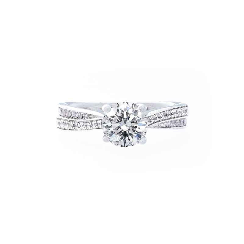 Classic Bead Set 2 Row Twisted Diamond Engagement Ring