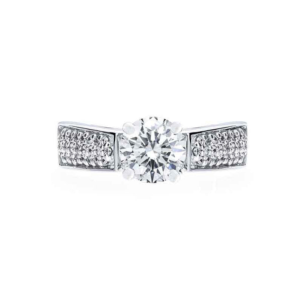 3 Row Graduating Pave Diamond Engagement Ring