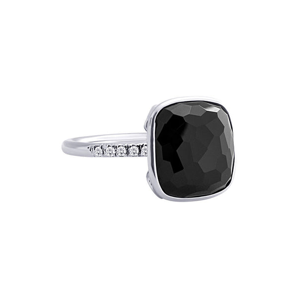 Como Collection 12mm Cushion Black Spinel and Diamond Ring