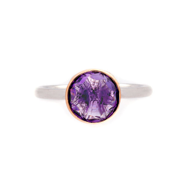 Como Collection 8mm Round Amethyst Two Tone Ring