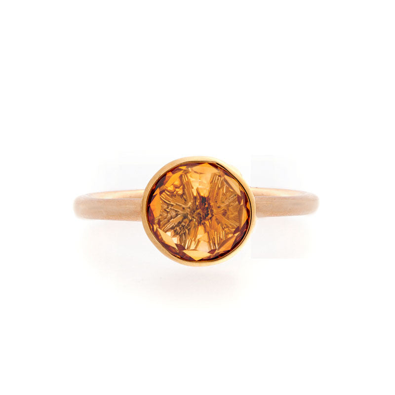 Como Collection 8mm Round Citrine Ring