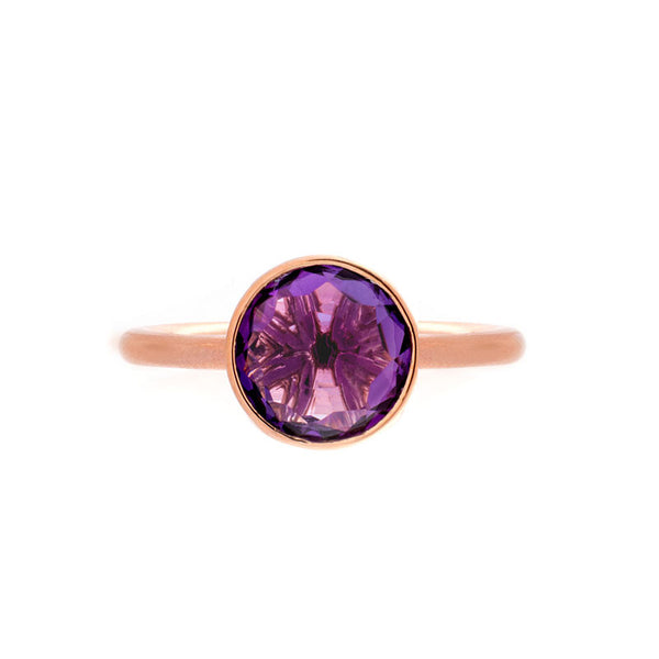 Como Collection 8mm Round Amethyst Ring