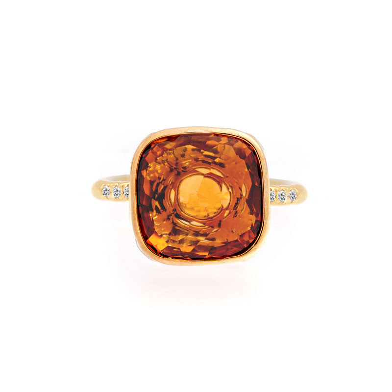 Como Collection 12mm Cushion Citrine and Diamond Ring