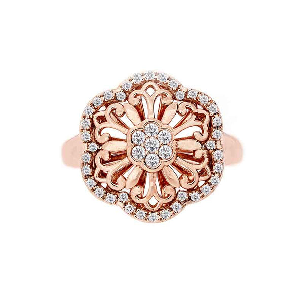 Belaggio Collection Rose Gold Diamond Flower Ring