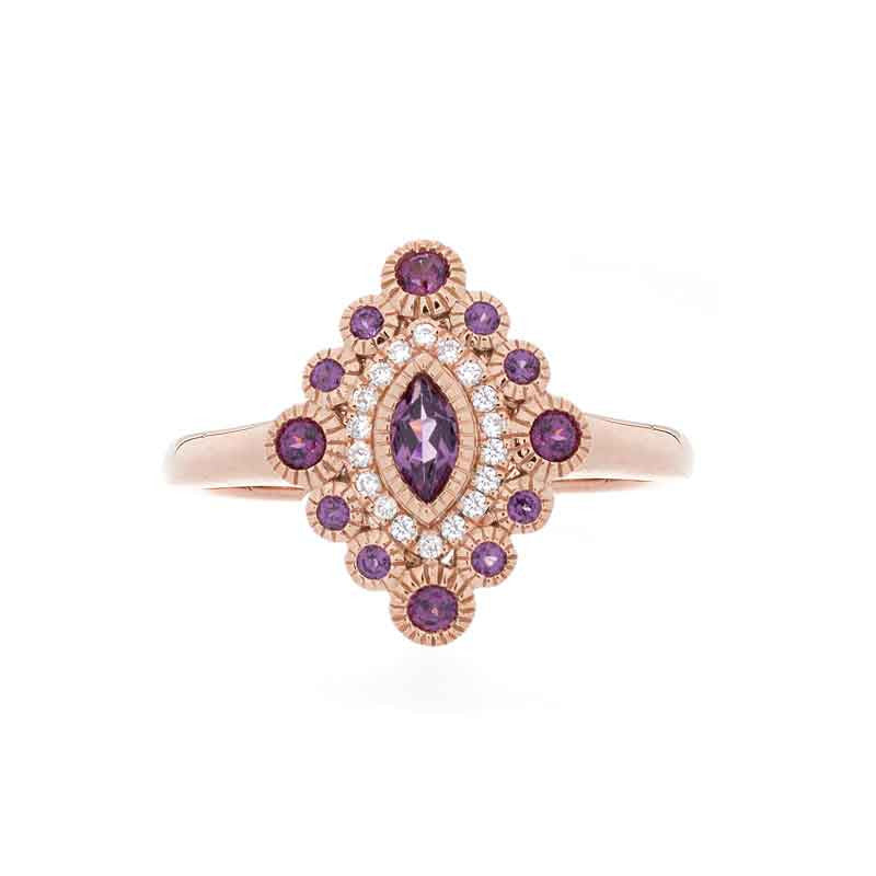 Tremezzo Collection Vintage Rhodolite Garnet and Diamond Ring