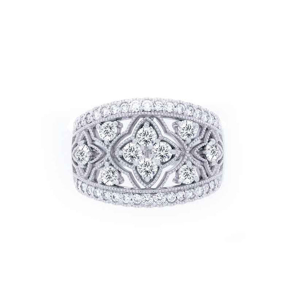 Bellagio Collection Milgrain Wide Band White Gold Diamond Ring