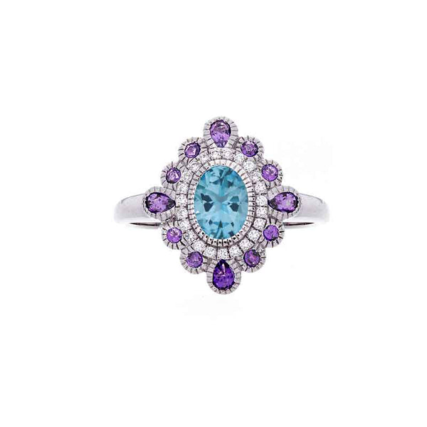Tremezzo Collection Vintage Blue Topaz, Amethyst and Diamond Ring