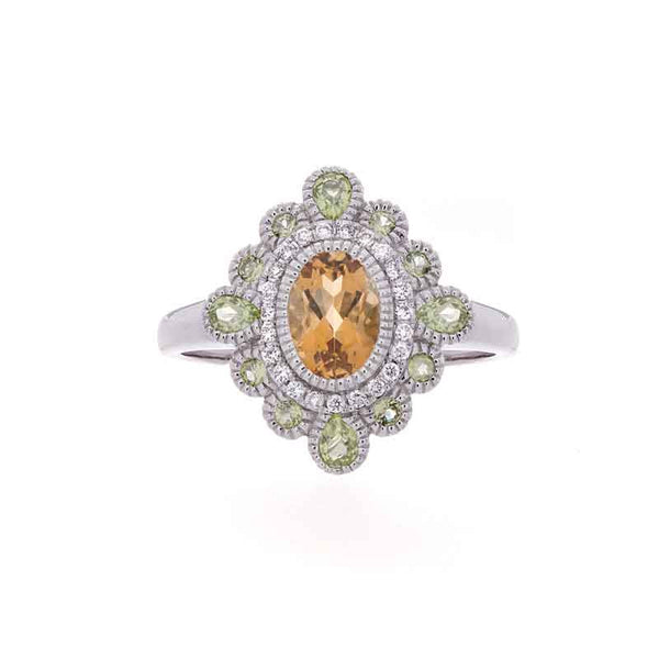 Tremezzo Collection Vintage Citrine, Peridot and Diamond Ring