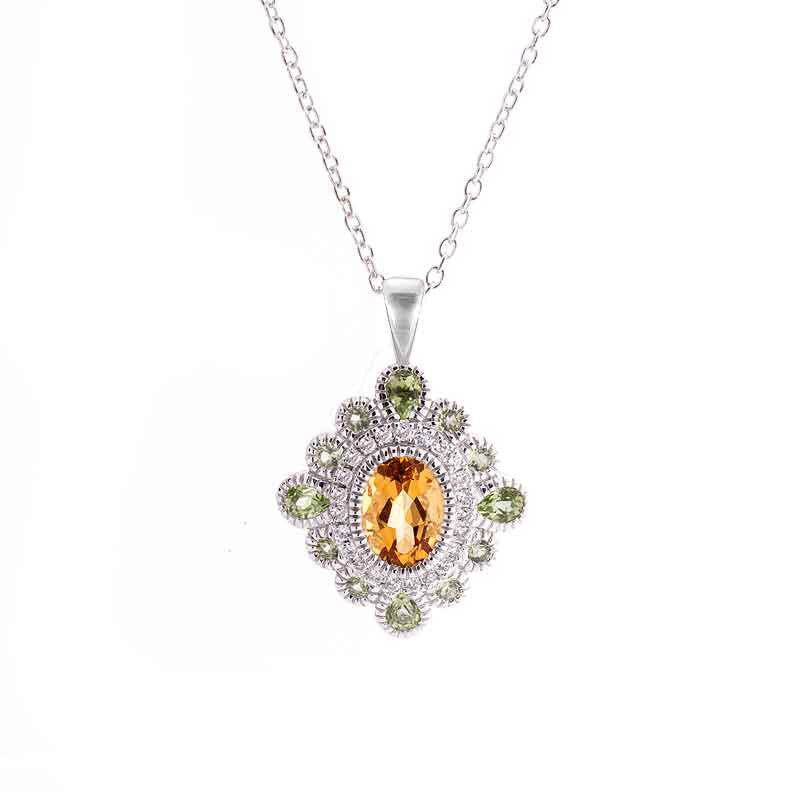 Tremezzo Collection Vintage Citrine, Peridot and Diamond Pendant