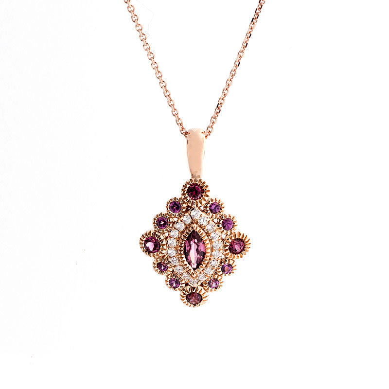 Tremezzo Collection Vintage Rhodolite Garnet and Diamond Pendant