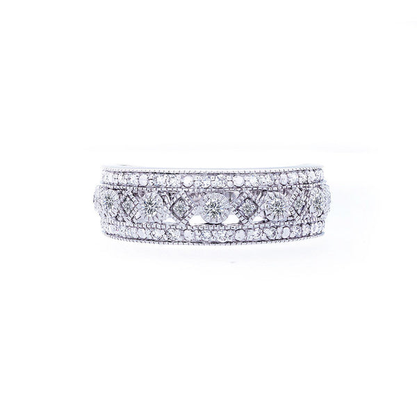 Bellagio Collection Three-row White Gold Diamond Band