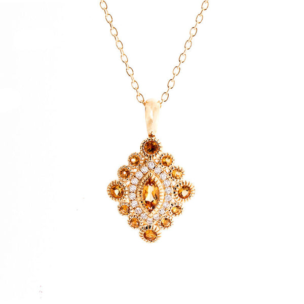 Tremezzo Collection Vintage Citrine and Diamond Pendant