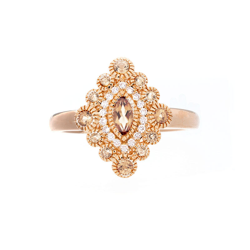 Tremezzo Collection Vintage Citrine and Diamond Ring