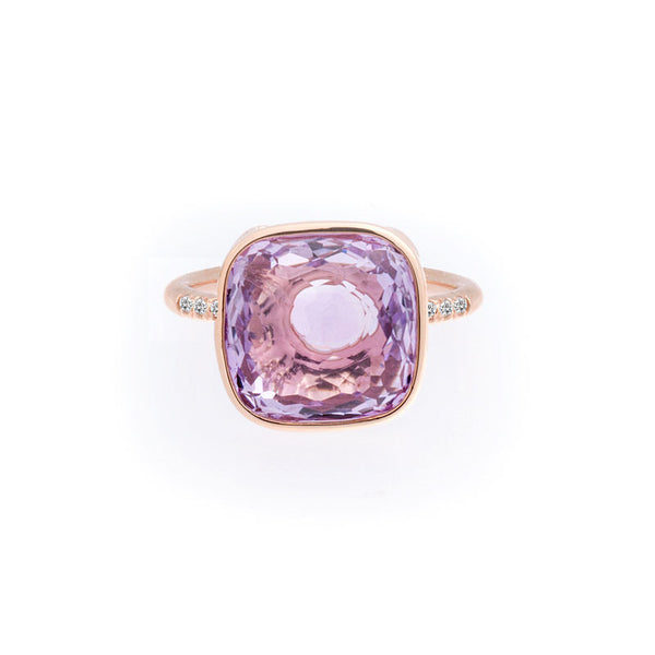 Como Collection 12mm Cushion Rose-de-France and Diamond Ring
