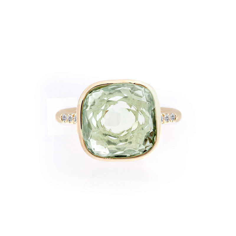 Como Collection 12mm Cushion Prasiolite and Diamond Ring