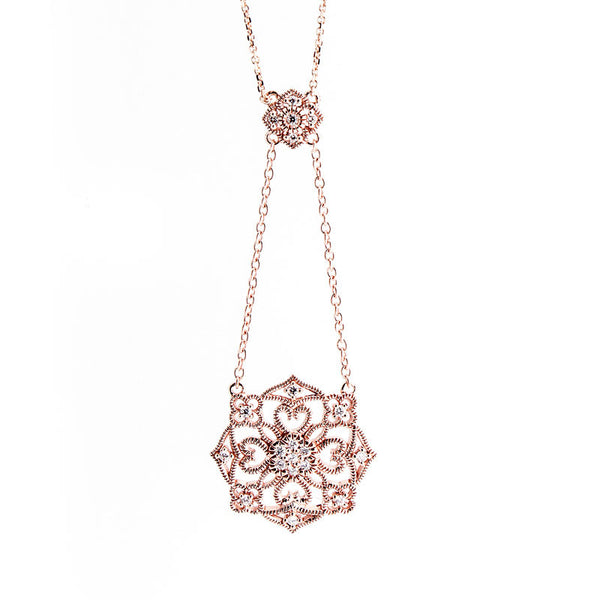 Bellagio Collection Rose Gold Drop Diamond Accent Pendant