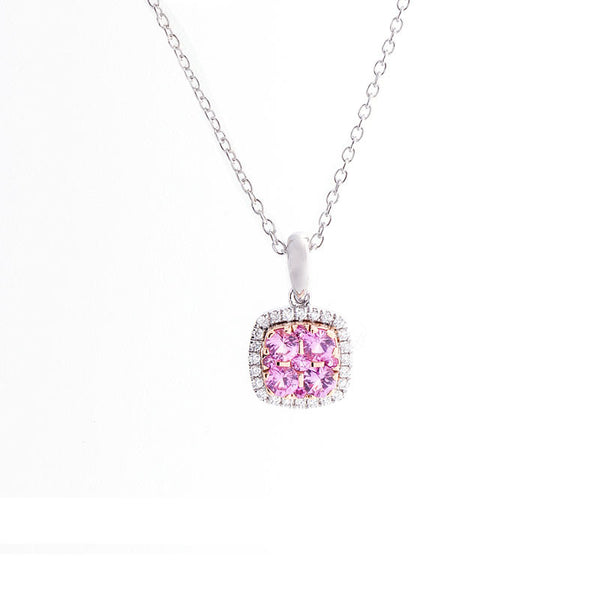 Bellagio Collection Pave Pink Sapphire Cushion Shape Pendant