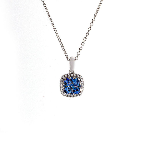 Bellagio Collection Pave Sapphire Cushion Shape Pendant