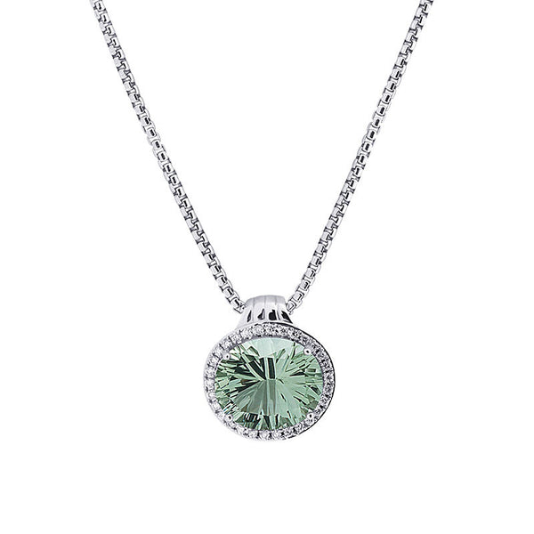 Lago Collection Prasiolite and Diamond Pendant