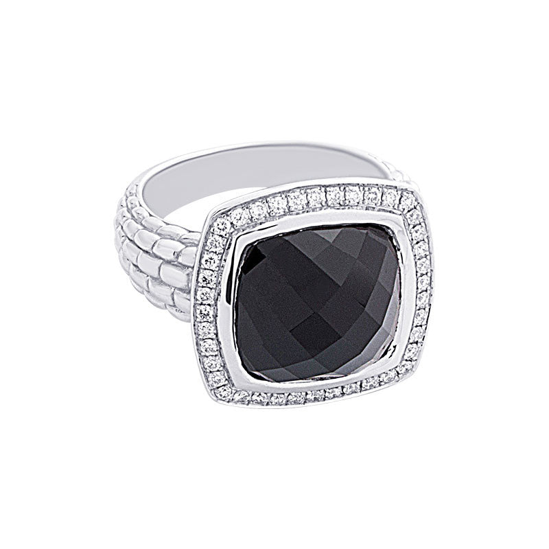 Pietra Collection Black Onyx and Diamond Ring