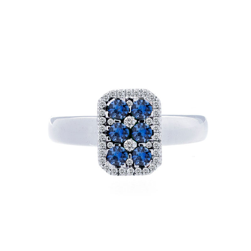 Bellagio Collection Pave Sapphire Elongated Cushion Ring
