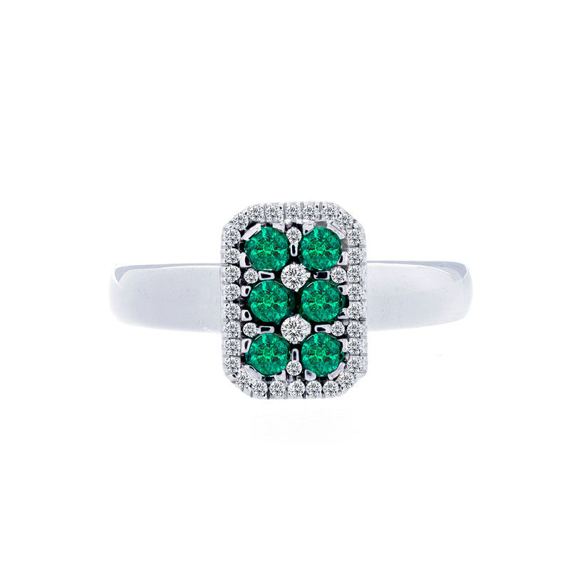 Bellagio Collection Pave Emerald Elongated Cushion Ring