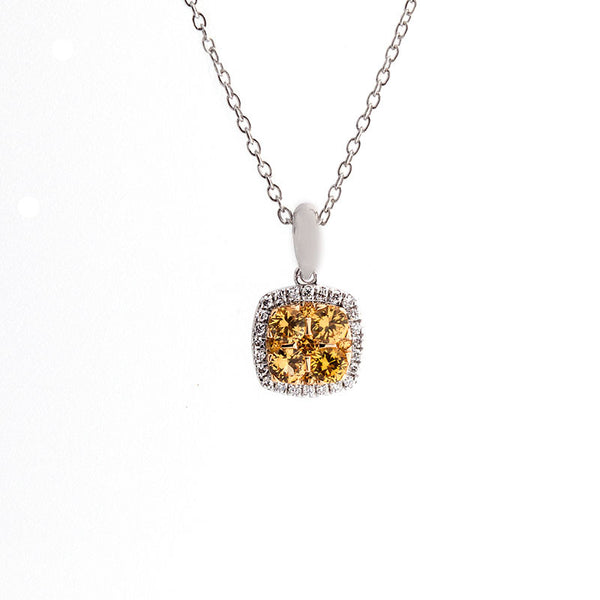 Bellagio Collection Pave Yellow Sapphire Cushion Shape Pendant