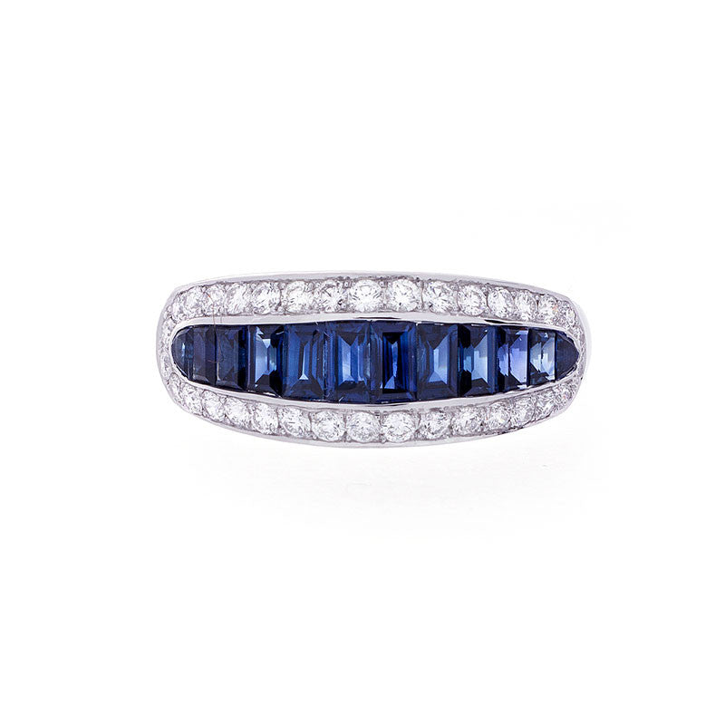Bellagio Collection Baguette Sapphire and Diamond Ring