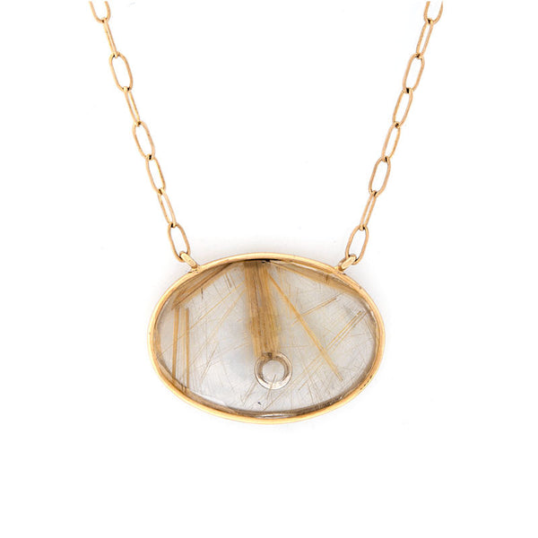 Giardino Collection Tom Munsteiner Rutilated Oval Quartz Necklace