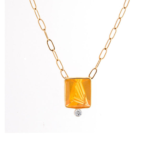Giardino Collection Tom Munsteiner Square Fire Opal Necklace