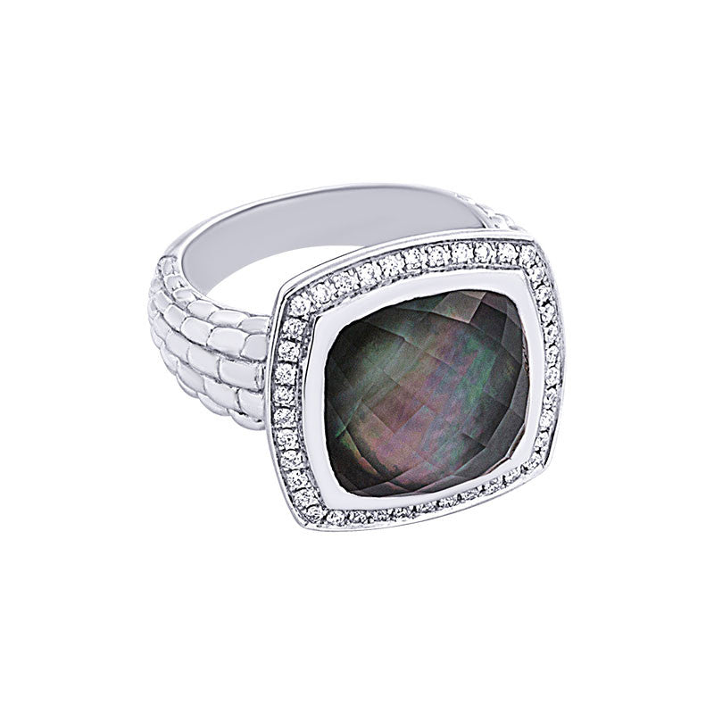 Pietra Collection White Quartz and Black Mother-of-Pearl Cabachon Ring with Diamonds