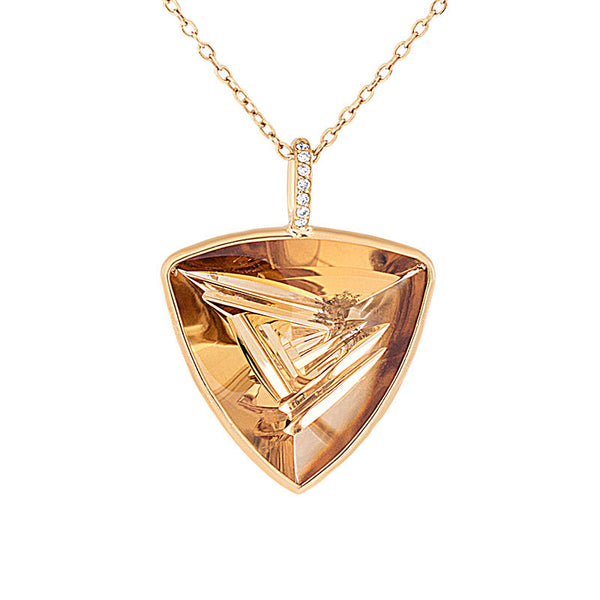 Giardino Collection Tom Munsteiner Triangle Citrine and Diamond Necklace