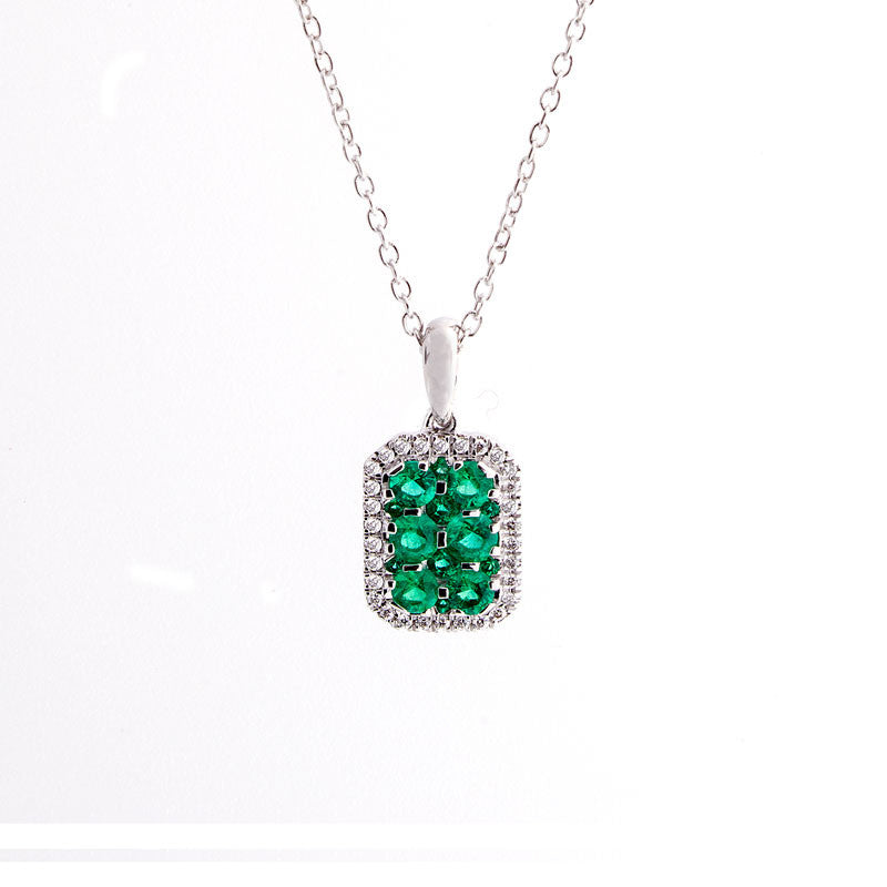 Bellagio Collection Pave Emerald Elongated Cushion Pendant