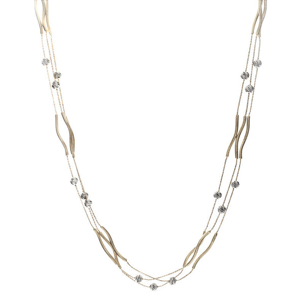 14 Karat Two-Tone Gold 3 Strands of Bar and Bead Stations Necklace, 17 inch.