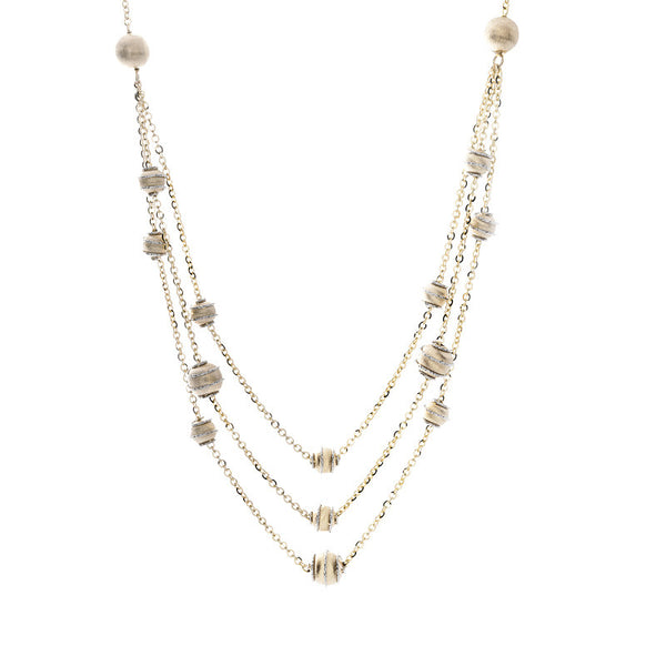 14 Karat Two-Tone Gold Gold Bead Stations 3  Strand Bib Style Necklace, 17 inch.