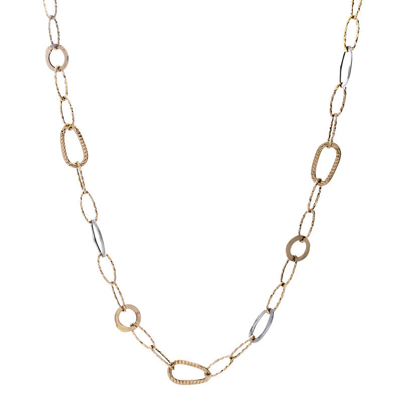 14 Karat Two-Tone Gold Round and Oval Open Link Necklace, 27.5 inch.