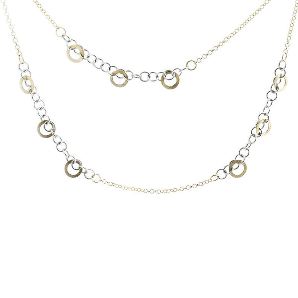 14 Karat Two-Tone Gold 4 Open Link Stations Necklace, 32 inch.