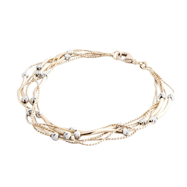 14 Karat Two-Tone Gold Multiple Strands with Bar and Bead Stations Bracelet, 7.25 inch.