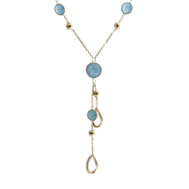 14 Karat Yellow Gold Blue Jade and Gold Bead Y Necklace, 16 inch.