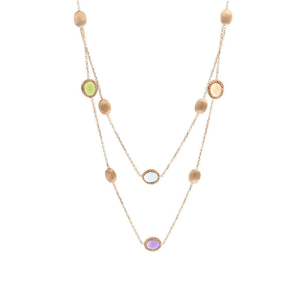 14 Karat Yellow Gold Multi-color and Gold Bead 2 Strand Station Necklace, 16.9 inch.